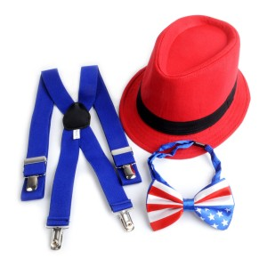Blue & Red Stars & Stripes 4th Of July  Suspenders  Fedora Hats & Bow (FOJ1706)  eb-32745689