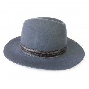 "Wool Felt Fedora Floppy 3"" Brim 58 cm Hat Slate Blue Gray Black Band Boho  eb-89339916"
