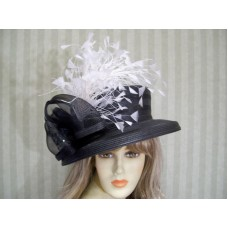 Kentucky Derby Hat  Black and White  Church Hat  Victorian Hat  Garden Party  T  eb-34547602