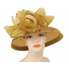 Mujer's Church Hat  Derby hat  Gold  4101  eb-75377529