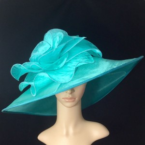 New Turquoise Green Kentucky Derby Hat Wide Brim Bridal Wedding Tea party  eb-81658681