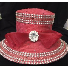 New Whittall And Shon Metallic Red Hat Silver Beading Rhinestones Adjustable  eb-47935287