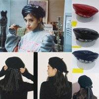 s Ladies PU Leather Beret Harajuku Wool Basque Beret Hat With Bowknot Caps  eb-47209268