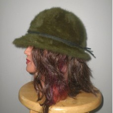 BOUTIQUE women's fuzzy bucket hat darkgreen cap Angora funky throwback moss fur  eb-27746443