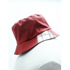 Burberry London Burgundy Nova Check Detail Bucket Hat Size M  eb-21441397