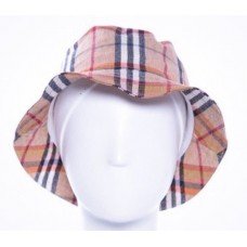 Burberry Mujer Large Bucket Hat Side Zipper Pocket Nova Check Plaid Linen Lined  eb-43235744