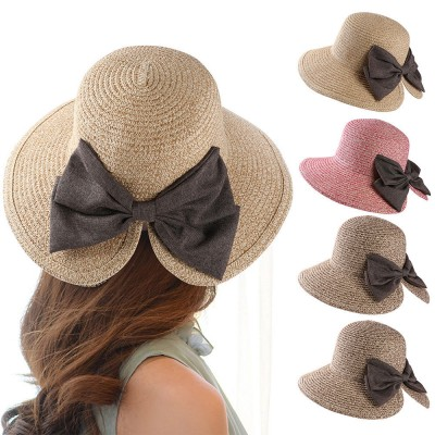 Fashion Summer  Lady Wide Brim Beach Cap Bucket Straw Bowknot V Cut Sun Hat  eb-67054119