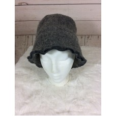 Mujers Gray Wool Blend Winter Bucket Hat Size Medium Large Made in Italy  eb-46332436