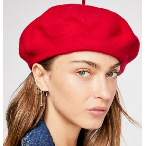 Free People Red Rouge  Du Jour Beret Sz ALL  eb-86960711