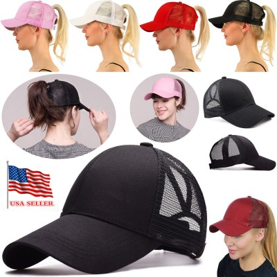 NEW Breathable cool High Bun Ponytail Adjustable Mesh Trucker Baseball Cap Hat  eb-31710341