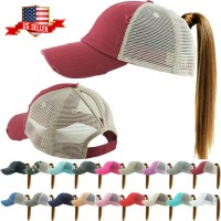 Ponycap Messy High Bun Ponytail Adjustable Mesh Trucker Baseball Cap Hat  eb-29301539