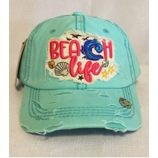 Beach Life Embroidered Factory Distressed Hombre Mujer Baseball Cap Turquoise Hat  eb-56188348