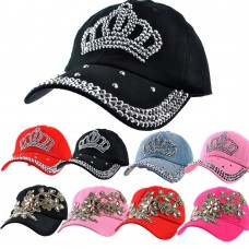 Crown Outdoor Golf Mujers Baseball Cap Sun Hats Rhinestone Bling Hat Adjustable   eb-37044128