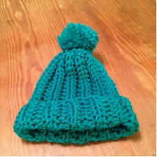 Chunky Slouchy Pom Pom Hat Hand crocheted teen and women  Blue  eb-15891897