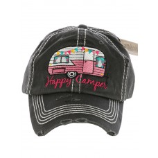 Distressed Vintage Style Happy Camper Hat Baseball Cap Mom Runner  eb-59328122
