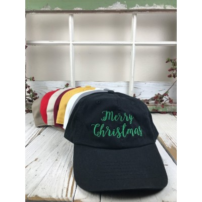 MERRY CHRISTMAS GREEN THREAD Embroidered Baseball Cap Dad Hat  Many Styles  eb-78151929