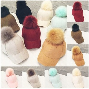 Faux Fox Fur Pompom Ball Suede Adjustable Baseball Cap HipHop Hat Winter  eb-14178194