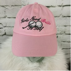 Girls Need Balls To Golf Mujers One Sz Hat Pink Adjustable Strapback Ball Cap  eb-64458686
