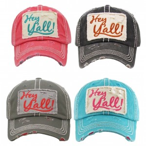 """HEY Y'ALL""  Embroidered  Vintage Style Ball Cap with Washedlook  eb-91788876"